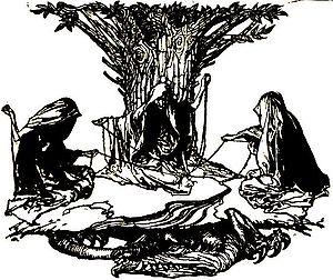 Norns weaving destiny, by Arthur Rackham (1912)