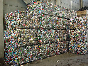 Aluminum cans pressed into blocks for recycling