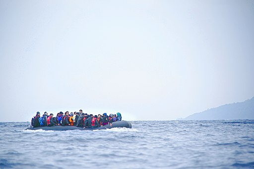 Refugees on a boat crossing the Mediterranean sea, heading from Turkish coast to the northeastern Greek island of Lesbos, 29 January 2016