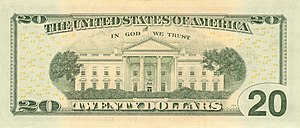 White House on Reverse of US $20 bill.