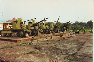 Viet Minh AAA artillery at the Dien Bien Phu M...