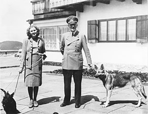 Obersalzberg- Adolf Hitler and Eva Braun with ...