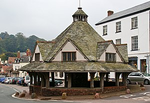 English: The Yarn Market in Dunster, a 17th ce...
