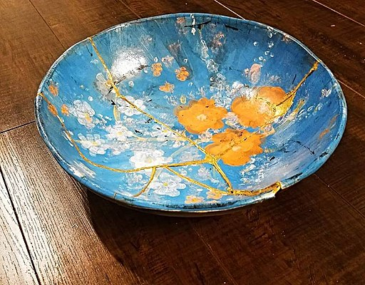 Hand Pinted Kintsugi Pottery Bowl