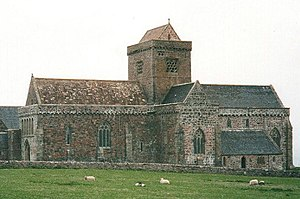 The restored Iona Abbey. In Columba's day all ...