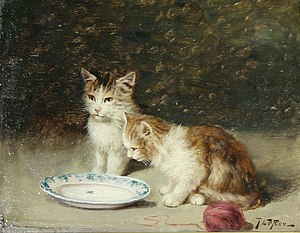 Jules Leroy: Playful Kittens, oil on panel, 8 ...