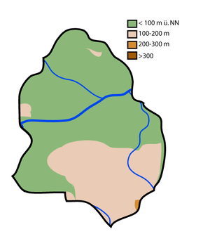 English: Topographical map of Löhne (Germany)