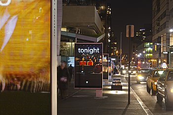 English: LED display boards along West 65th St...
