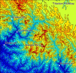 Shaded contour map of the Nanda Devi region in...