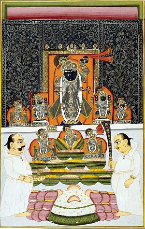 Nathdwara Srinathji in the Govardhan leela pos...