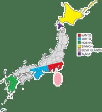 Mapa mostrando algumas áreas do Japão onde foram baseadas Regiões Pokémon, incluindo Sinnoh (em Inglês, Sinnoh).