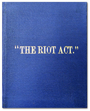 English: The cover of the British law The Riot...
