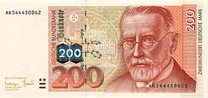 German banknote of the fourth series; with hol...
