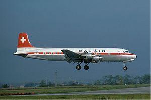 English: A Douglas DC-6B of Balair at Basle Ai...