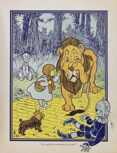 โดโรธีพบกับสิงโตขี้ขลาด ภาพจากนิยายฉบับตีพิมพ์ครั้งแรก