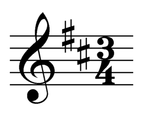 musical notation example (clef, key signature,...