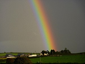 English: Pot of Gold Rainbow over Hazelgrove Farm