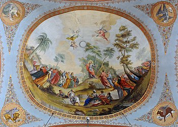 The Sermon of Jesus on the mount. Fresco by Fr...