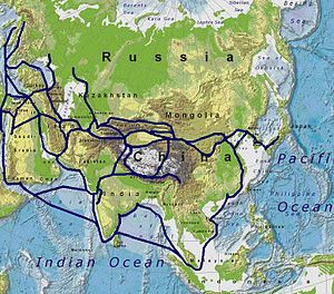 The Silk Road connected many civilisations acr...