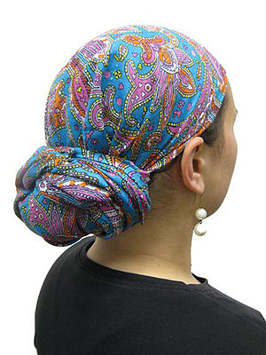 Women's Tichels, Headscarves, (image from cove...