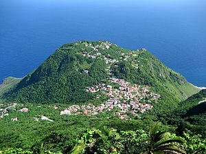 A view on the village of Windwardside, from th...