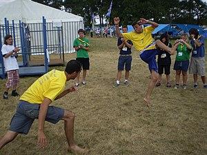 Brazilian scouts dancing capoeira at the 21st ...