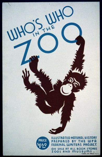 Imagen para ilustrar la clasificación de la familia hominoidea: el cartel de Who's who in the zoo