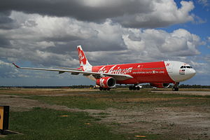 English: One of AirAsia X's Airbus A330s taxii...
