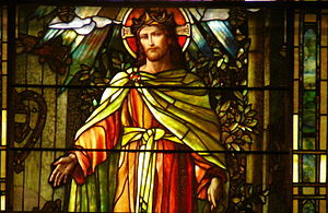 """Detail from """"Christ the Light of the Worl..."""