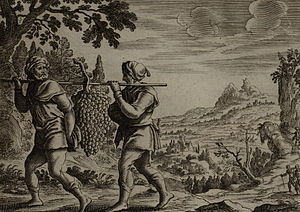 English: The Spies Return from Canaan, engravi...