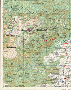 '''Topographic map of Nilgiri Hills showing so...