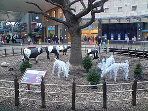 English: Oak tree and concrete cows at Xmas, C...