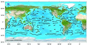 Major surface ocean currents.