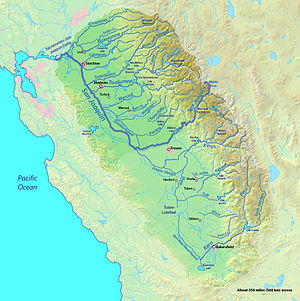 English: Map of the San Joaquin River watershe...