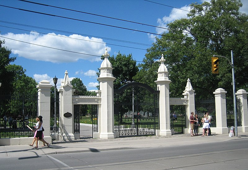 Gates at the entrance to Trinity Bellwoods Park