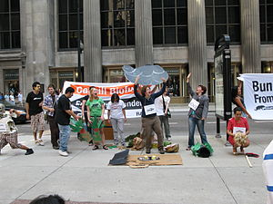 English: Rainforest Action Network activists, ...