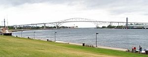 The Blue Water Bridge from the South along the...