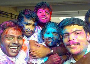 English: Holi celebration at college of engine...