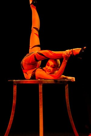 Contortionist performing