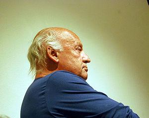 Writer Eduardo Galeano having a conference at ...