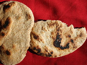 Home baked unleavened flour and water flatbrea...