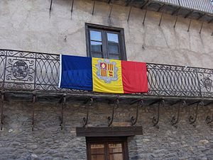 Andorran flag on balcony, Ordino, Andorra
