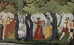 Râdhâ arrests Krishna, Punjab style, 1770.