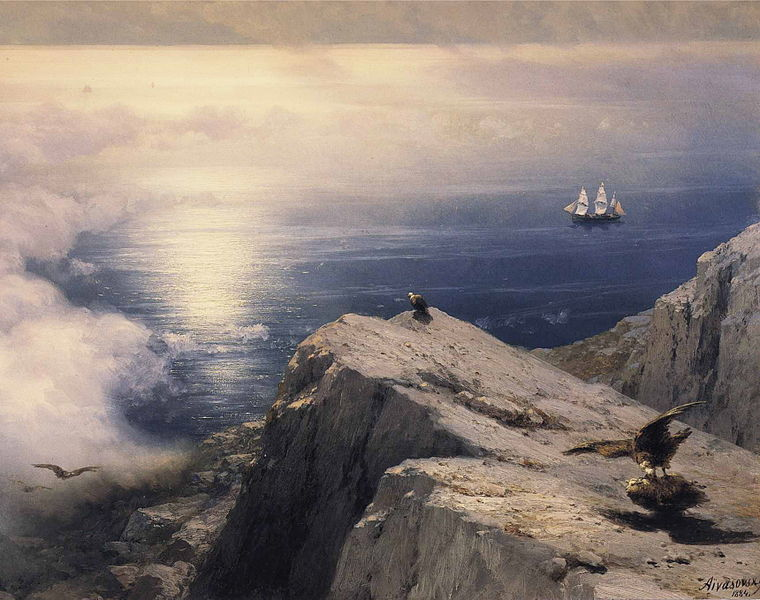 File:Ivan Constantinovich Aivazovsky - A Rocky Coastal Landscape in the Aegean with Ships in the Distance (detail).JPG