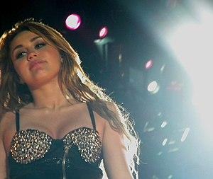 Pop singer Miley Cyrus performing in São Paulo...