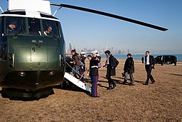 Obama family getting in Marine One