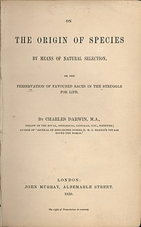 Title page of the first edition of On the Orig...