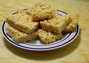 Rice Krispie treats squares. Photo taken by Us...