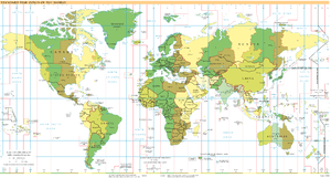 World map of time zones as of March 2010, on t...