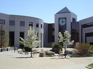 Stewart Clocktower, flanked by Waldo Library t...